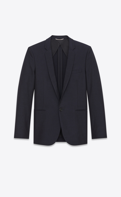 SAINT LAURENT Blazer Jacket Man Straight-cut jacket in navy blue cotton canvas and mohair a_V4