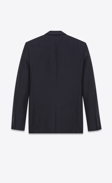 SAINT LAURENT Blazer Jacket Man Straight-cut jacket in navy blue cotton canvas and mohair b_V4