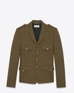 SAINT LAURENT Blazer Jacket U Military jacket in khaki wool twill f