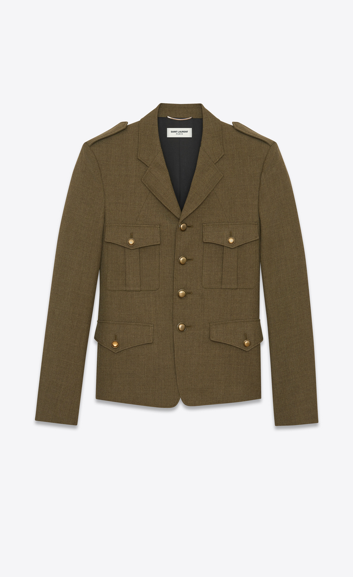b61a9edacd338 Saint Laurent Military Jacket In Khaki Wool Twill