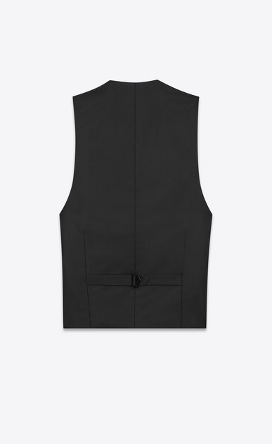 SAINT LAURENT Blazer Jacket Man Embroidered vest in black linen canvas b_V4