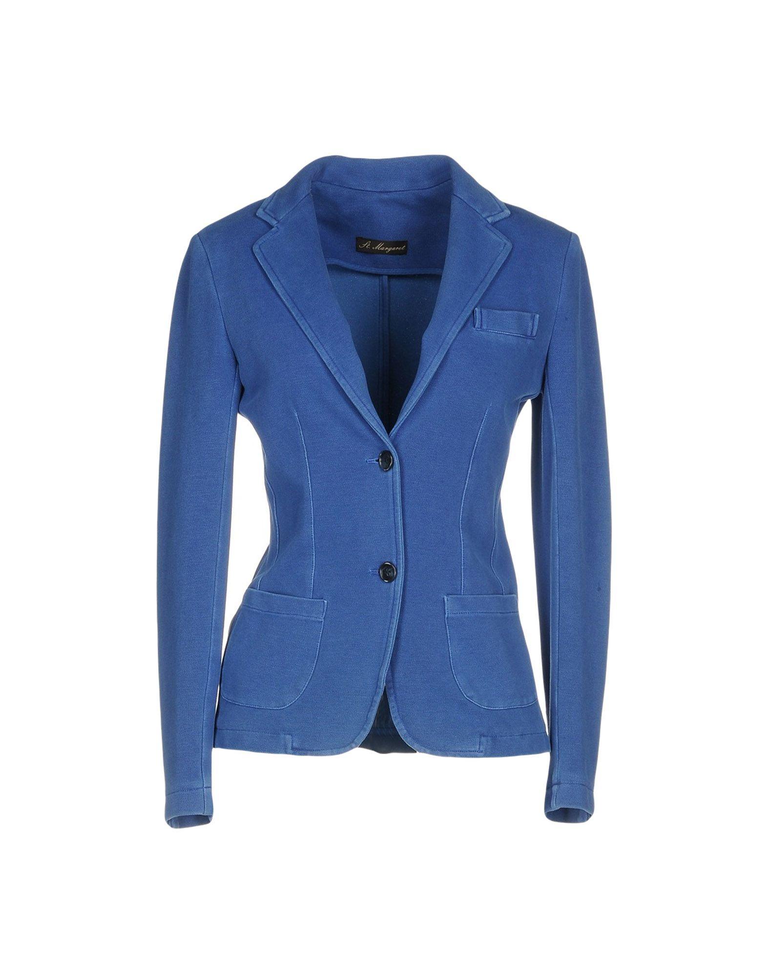 《送料無料》ST. MARGARET レディース テーラードジャケット ブルー 42 コットン 100%