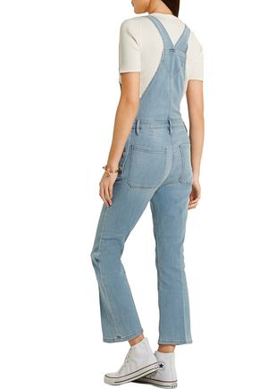FRAME Antibes cropped stretch-denim overalls