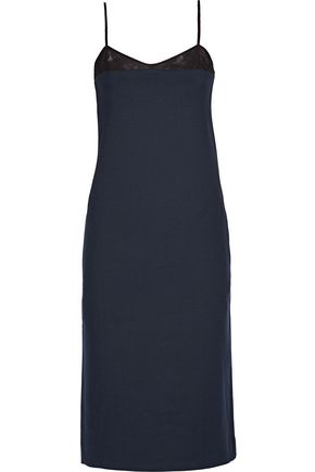 NINA RICCI Milano mesh-trimmed stretch-wool dress
