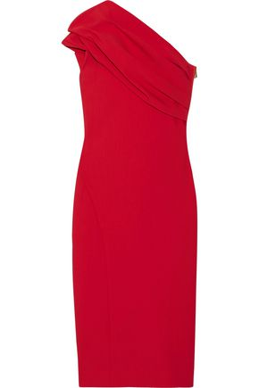 HANEY Alexandria one-shoulder gathered stretch-crepe dress