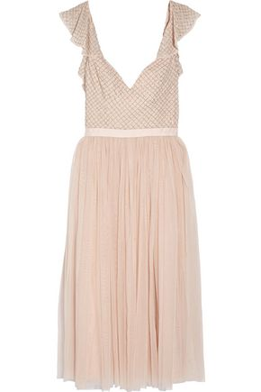 NEEDLE & THREAD Swan beaded georgette dress
