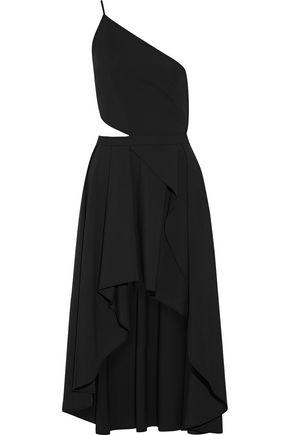MICHELLE MASON One-shoulder cutout stretch-cady dress