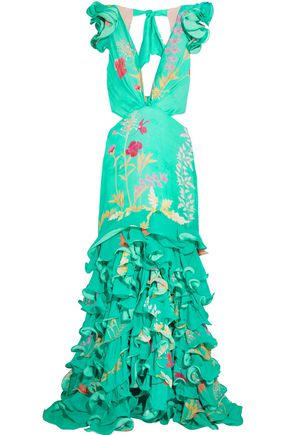 JOHANNA ORTIZ Yemanya ruffled cutout floral-print silk gown