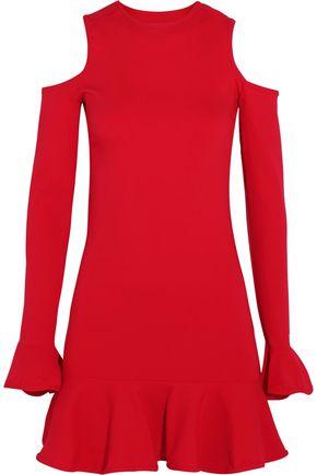 MICHAEL LO SORDO Cutout ruffled stretch-knit mini dress