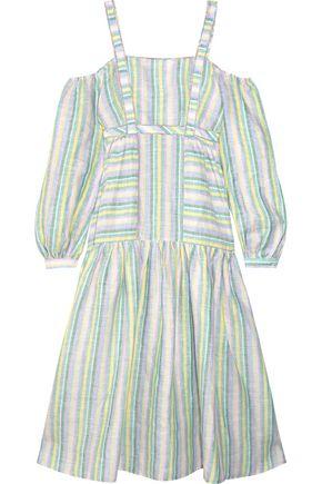 GÜL HÜRGEL Off-the-shoulder striped linen midi dress