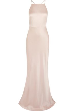 Open-Back Satin-Crepe Gown