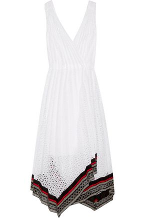 OSCAR DE LA RENTA Lace-trimmed broderie anglaise cotton-blend wrap midi dress