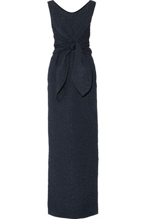 NINA RICCI Tie-front silk-blend seersucker midi dress