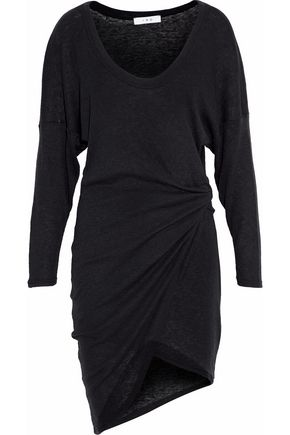 IRO Asymmetric gathered stretch-knit mini dress