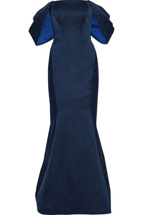 ZAC POSEN Off-the-shoulder duchesse-satin gown