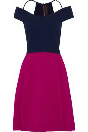 ROLAND MOURET Off-the-shoulder wool two-tone dress