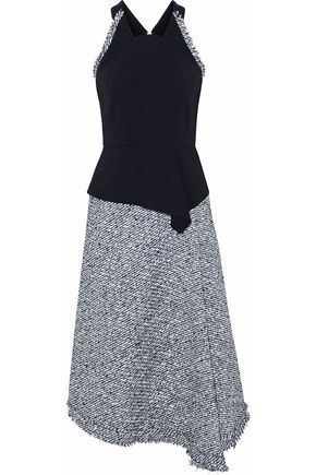 ROLAND MOURET Metallic frayed jacquard dress
