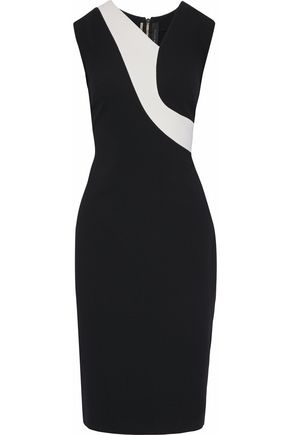 ROLAND MOURET Two-tone crepe dress