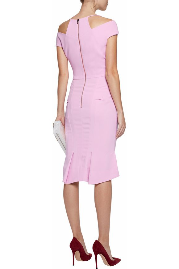 Flared pleated crepe dress | ROLAND MOURET | Sale up to 70% off | THE OUTNET