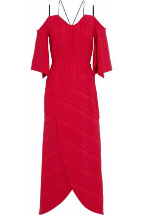 ROLAND MOURET Cold-shoulder wrap-effect cloqué midi dress