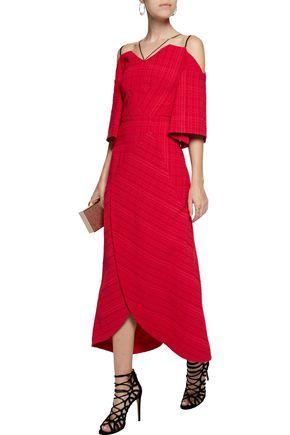 ROLAND MOURET Hollander cold-shoulder wrap-effect cloqué midi dress