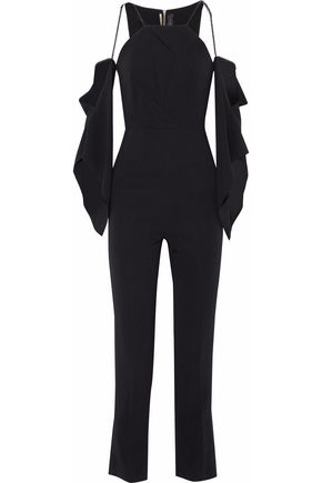 ROLAND MOURET Cold-shoulder draped crepe jumpsuit