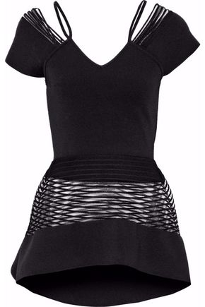 ROLAND MOURET Mesh-paneled cutout stretch-knit peplum top