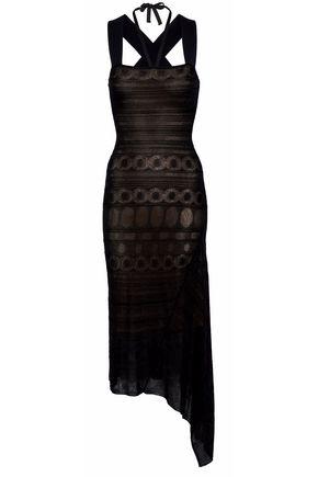 ROLAND MOURET Asymmetric stretch-knit cloqué midi dress