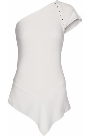 ROLAND MOURET One-shoulder studded crepe de chine top