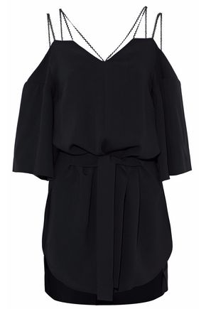 ROLAND MOURET Cold-shoulder crepe blouse