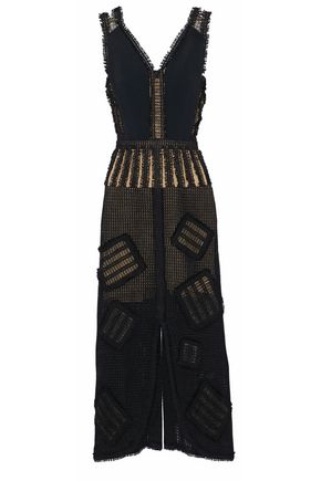 ROLAND MOURET Layered appliqued crocheted linen midi dress
