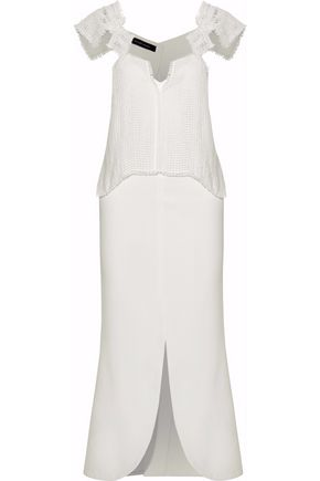 ROLAND MOURET Paneled crochet-knit linen and cady midi dress