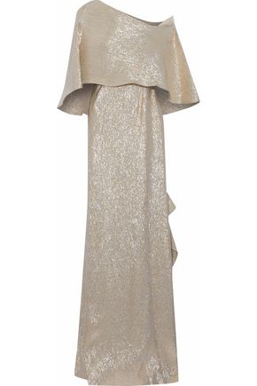ROLAND MOURET One-shoulder cape-effect ruffled lamé gown