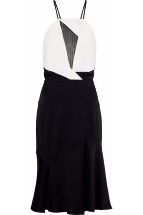 ROLAND MOURET Mesh-paneled two-tone cady dress