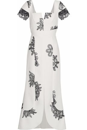 ROLAND MOURET Floral lace-appliquéd cady midi dress
