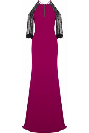 ROLAND MOURET Cold-shoulder lace-paneled cutout crepe gown