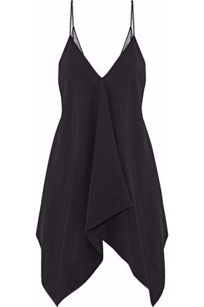 ROLAND MOURET Asymmetric lace-paneled crepe top