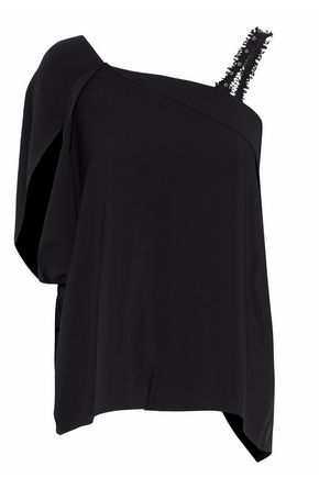 ROLAND MOURET Livingston one-shoulder draped crepe top