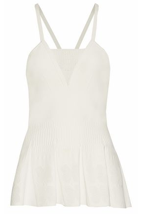 ROLAND MOURET Pleated pointelle-paneled stretch-crepe top