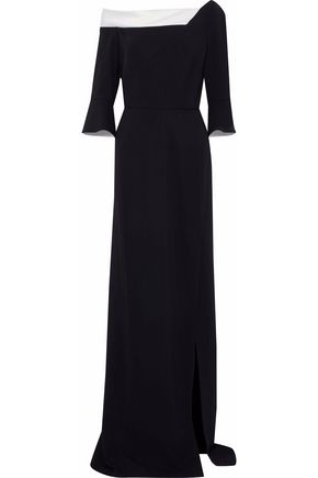 ROLAND MOURET Two-tone satin-trimmed crepe gown
