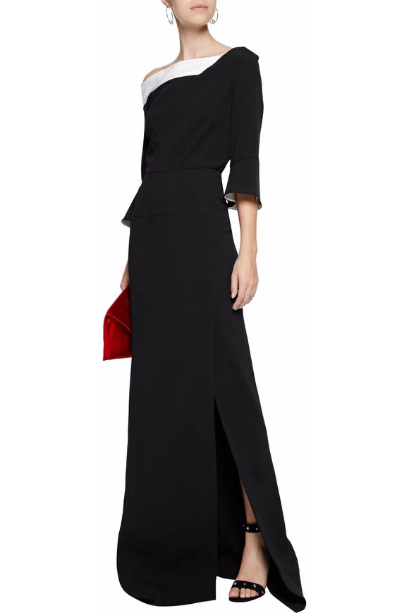 One-shoulder satin-trimmed crepe gown | ROLAND MOURET | Sale up to 70% off  | THE OUTNET