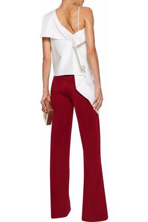 ROLAND MOURET Asymmetric draped satin blouse
