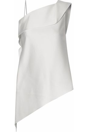 ROLAND MOURET Asymmetric draped satin blouse