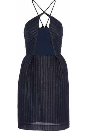 ROLAND MOURET Pleated gauze halterneck mini dress