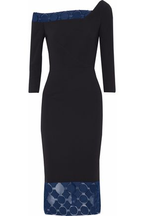 ROLAND MOURET One-shoulder fil coupé-trimmed crepe midi dress