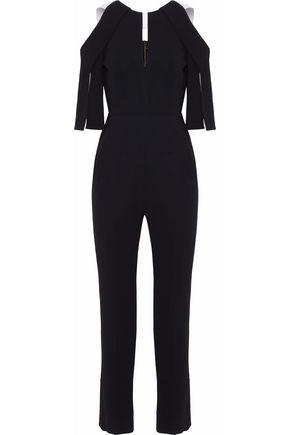 ROLAND MOURET Cold-shoulder cutout crepe jumpsuit
