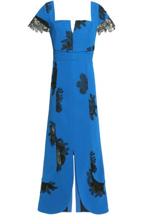 ROLAND MOURET Lace-trimmed midi dress