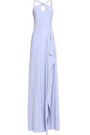 ROLAND MOURET Flared embellished crepe halterneck gown
