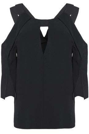 ROLAND MOURET Pleated crepe top
