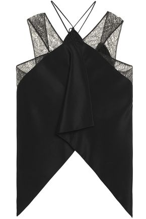 ROLAND MOURET Off-the-shoulder lace-trimmed crepe-marocain top